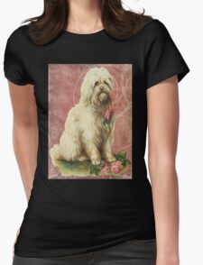 Victorian White Sheep Dog Pink Flowers Womens Fitted T-Shirt