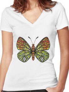 Butterfly T-Daisy (194 views) Women's Fitted V-Neck T-Shirt