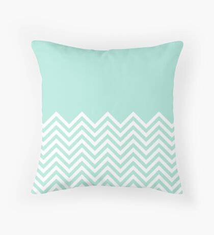 Mint Chevrons with Solid Block Top Throw Pillow