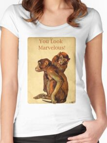 Marvelous Monkey Couple Women's Fitted Scoop T-Shirt