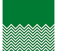Green Chevrons with Solid Block Top Photographic Print