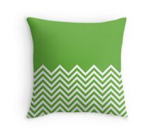 Grass-Green Chevrons with Solid Block Top Throw Pillow