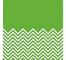 Grass-Green Chevrons with Solid Block Top Photographic Print