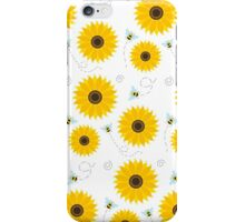 Sunflower And Bumble Bees Graphic Pattern iPhone Case/Skin