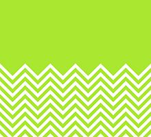 Lime-Green Chevrons with Solid Block Top by ImageNugget