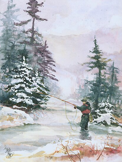 "Winter Magic - A very ""Wintery"" and Calm Fishing Scene by Elisabeta Hermann"