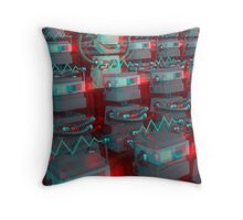 Retro 3D Robot Cinema Throw Pillow
