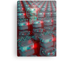 Retro 3D Robot Cinema Metal Print