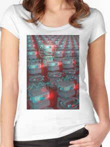 Retro 3D Robot Cinema Women's Fitted Scoop T-Shirt