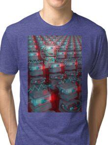 Retro 3D Robot Cinema Tri-blend T-Shirt