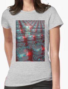 Retro 3D Robot Cinema Womens Fitted T-Shirt