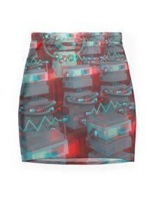 Retro 3D Robot Cinema Mini Skirt
