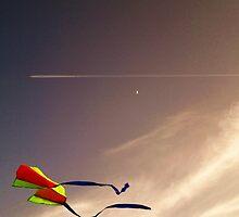 kite plane moon by razberryjam