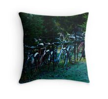 Bicycle Fence Throw Pillow