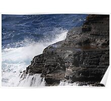 waves hitting the rocks Poster