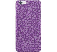 Flower & Butterfly Pattern - Purple iPhone Case/Skin