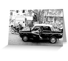 Taxi driver sleeping in Taxi Greeting Card