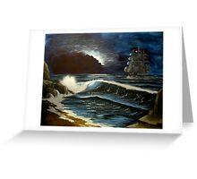 moonlit ship at sea Greeting Card