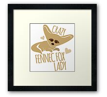 Crazy Fennec Fox Lady Framed Print