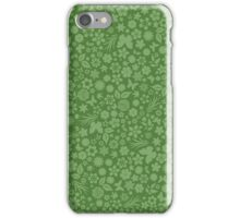 Flower & Butterfly Pattern - Green iPhone Case/Skin