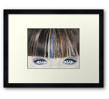 Blue Eyes Coloured Pencil Drawing (Natural Colour) Framed Print