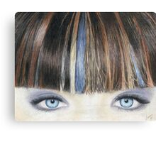 Blue Eyes Coloured Pencil Drawing (Natural Colour) Canvas Print
