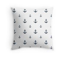 Navy Anchors Throw Pillow