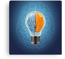 Symbol of idea with the brain shape left and right Canvas Print