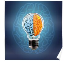 Symbol of idea with the brain shape left and right Poster