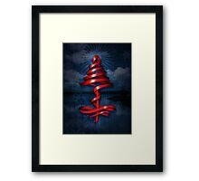 Christmas tree ribbon Framed Print