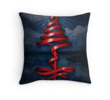 Christmas tree ribbon Throw Pillow