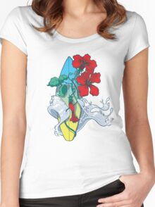 Wave in bloom - Surfboard with Hibiscus  Women's Fitted Scoop T-Shirt