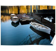 Moored Boats At Sunset Poster