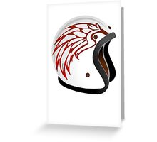 vintage race helmet with fire wings on the side Greeting Card
