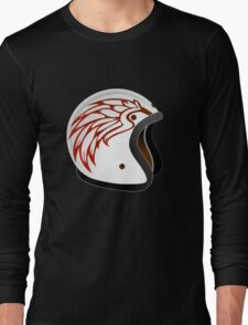 vintage race helmet with fire wings on the side Long Sleeve T-Shirt