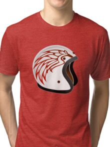 vintage race helmet with fire wings on the side Tri-blend T-Shirt