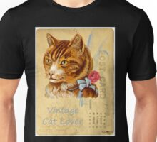 Vintage Cat Lover Post Card Rose Bow Unisex T-Shirt
