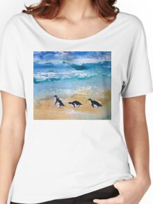Three Little Penguins Out for a Stroll  Women's Relaxed Fit T-Shirt