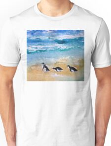 Three Little Penguins Out for a Stroll  Unisex T-Shirt
