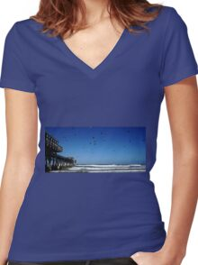 Pigeons At The Beach Women's Fitted V-Neck T-Shirt