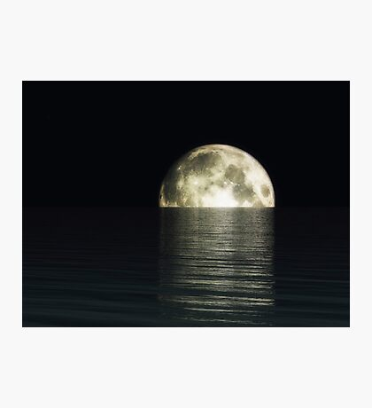 Midnight Moon In Darkness Reflection Photographic Print