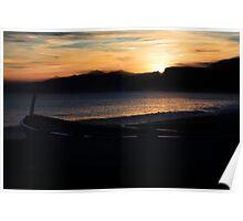 Boat & Sunset Poster