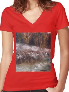 SNOW SCENE Women's Fitted V-Neck T-Shirt
