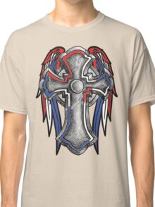 Red White & Blue Stone Cross W/wings Classic T-Shirt