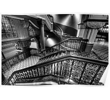 Over The Rails - QVB Building (Monochrome) , Sydney - The HDR Experience Poster