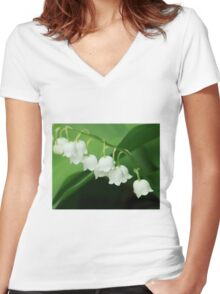 Lily of the valley for grandma Women's Fitted V-Neck T-Shirt