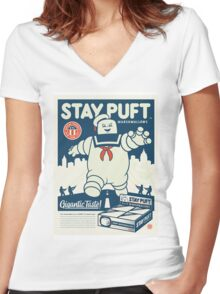 Stay Puft Marshmallow Man Women's Fitted V-Neck T-Shirt