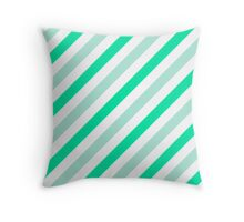 Mint-Diagonal-Tinted-White Two-Tone Diagonal Stripes Throw Pillow