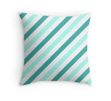 Teal-Diagonal-Tinted-White Two-Tone Diagonal Stripes Throw Pillow