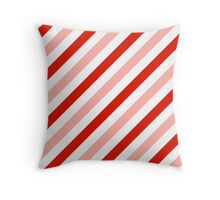 Red-Diagonal-Tinted-White Two-Tone Diagonal Stripes Throw Pillow